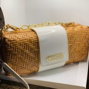 Rattan and leather purse